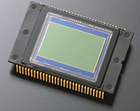 The CCD (charge coupled device) from a Nikon D2X digital camera is roughly 0.9 X 0.6 inches (23.7 X 15.7 mm) in size and has 12.4 million effective pixels.