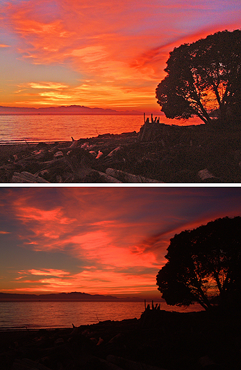 Bracketing exposures can be very beneficial when photographing sunsets.