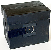 A hand-made 8 X 10 box pinhole camera with the shutter open.