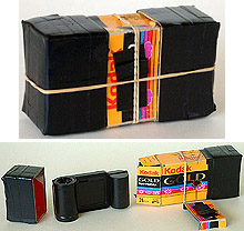 Why not make a pinhole camera out of the box the film comes in? Now, that's recycling. This Kodak instamatic 126 film cartridge box makes a great pinhole camera..