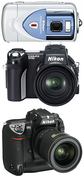Camera manufacturers like Nikon make several models in all three categories of digital camera, each with differing features, offering the buyer a wide choice.