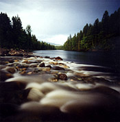Pinhole camera photograph of Clearwater River taken on Kodak 126 film at an exposure of 1sec at /128.