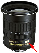 The DX designation on this Nikon lens indicates that it was designed for use on a digital camera.