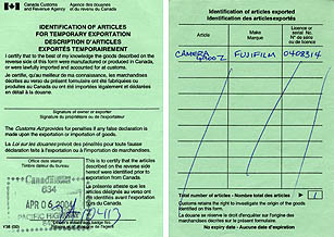 This Customs form, filled in before leaving home, verifies that you owned your camera before visting another country. Similar registration forms are available from Canada, the USA and all other nations.