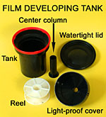 Plastic developing tank components.