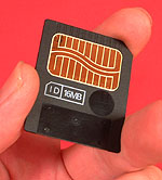 Images are stored in the camera or on removable media, such as this 16MB SmartMedia memory card.