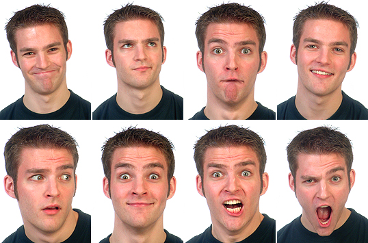 Chris Mewhort is the expressive male model who provided so many different facial expressions.