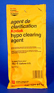 Hypo clearing agent saves water and washing time in processing black and white film. This product is dry and must be thoroughly mixed with water before use.