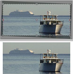 Once the image has been rotated so its horizon is level, use the Crop tool to give the image perpendicular edges.