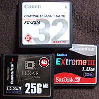 A memory cards size is shown on its label. These above are 32MB, 256MB and 1GB cards.