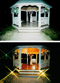 The upper picture was taken using straight flash. The lower shot, however, used the gazebo's lighting for warmth and a four-point star filter for added sparkle.