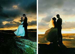 Two moody seaside wedding pictures of the same couple - one taken with subtle flash and the other a silhouette, both benefiting from the clouded, sunset background. Photographer Mike Bauldry.