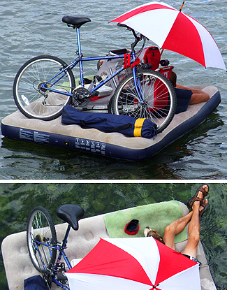 Rafting down a stream has always been a peaceful pasttime, but with a bicycle and your dog on board?