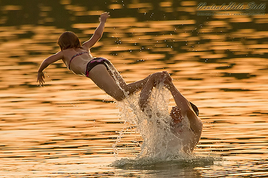 The joy of summertime in a warm Alberta lake.