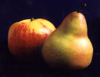 Illuminated by a single diffused light, these fruits (fake, by the way) are quite dark on the shadow side.