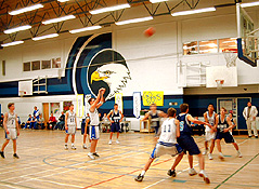A wide-angle lens in the right location captured the essential elements - the jostling, the shooter, the target and the ball.