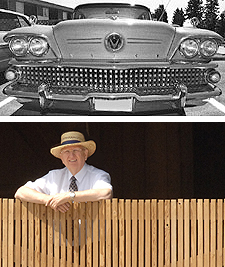 A wide-angle close-up showing design symmetry in a classic car yields a more-interesting picture. The fence's pattern is broken and relieved by the man leaning on it.