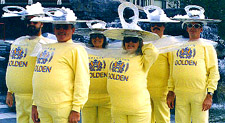 When people dress up in costume, their creativity and humor are often revealed. This group is dressed as a six-pack of beer.